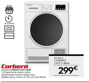 Oferta de Secadora de condensación 8 kg CORBERÓ CSCEV 8008 por 299€