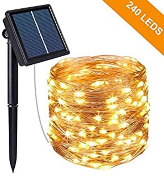Oferta de Guirnalda Luces Exterior Solar, Kolpop Cadena de Luces 26 Metros 240 LED, 8 Modos de Luz, Decoración para Navidad, Fiestas... por 11,09€