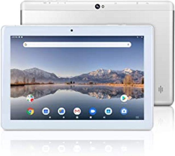 Oferta de Tableta Android Google de 10 Pulgadas, Android 9.0 Pie, Certificado GMS, Almacenamiento de 64 GB, Procesador Quad-Core, Pa... por 89,99€