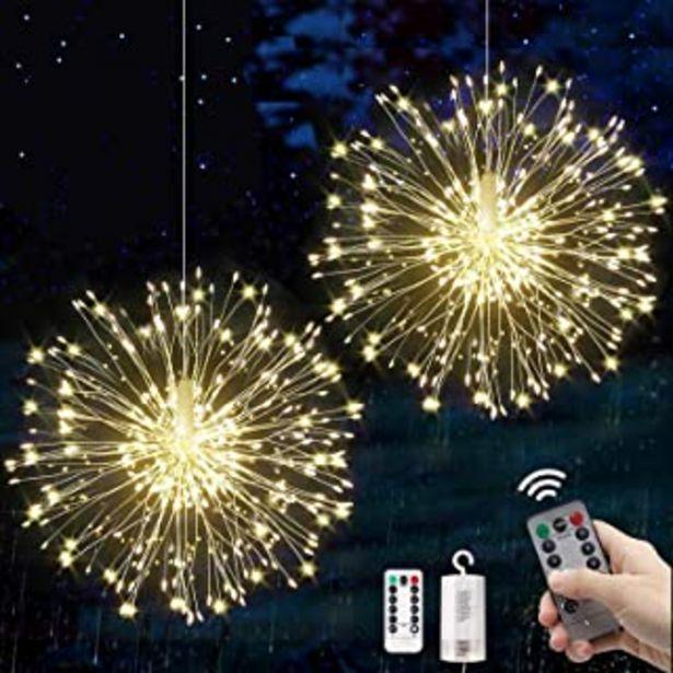 Oferta de Fuegos artificiales Luces Cadena LED Navidad Guirnaldas Luminosas Fuegos Alambre 8 Modos Iluminación con Control Remoto pa... por 17,99€
