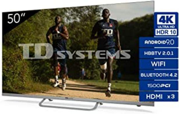 Oferta de TD Systems - Televisor K50DLX11US, Smart TV 50 Pulgadas, 4K Android 9.0 y HBBTV, 1500 PCI Hz UHD HDR, 3X HDMI, 2X USB. DVB... por 319€