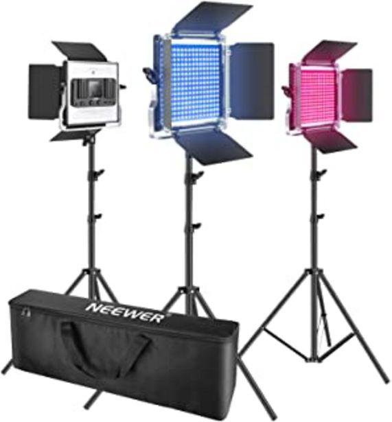 Oferta de Neewer 3 Packs luz LED RGB 530 con Control App Kit Iluminación Video y Fotografía con Soportes y Bolsa 528 SMD LED CRI95 /... por 199,99€