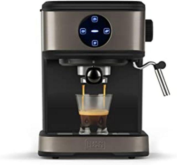 Oferta de BLACK+DECKER BXCO850E - Cafetera espresso, 20bar, 1 o 2 cafés, función vapor, paro automático, cantidad programable, siste... por 129€