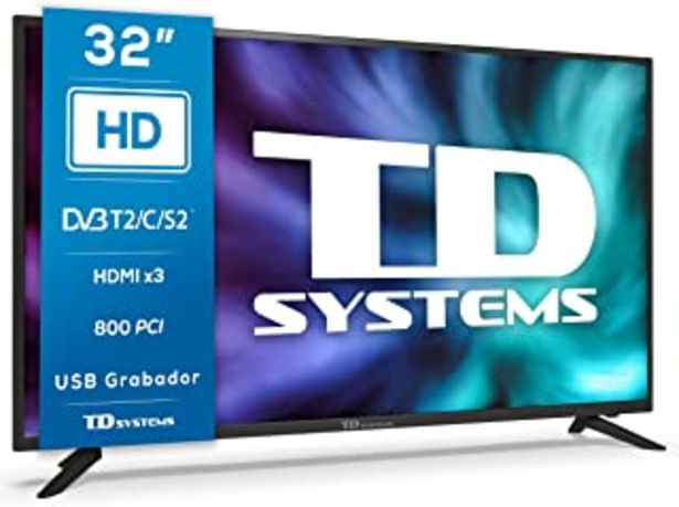 Oferta de TD Systems K32DLG12H - Televisores 32 Pulgadas HD, 800 PCI Hz, 3X HDMI, USB Grabador Reproductor, DVB-T2/C/S2 Modo Hotel. ... por 169€
