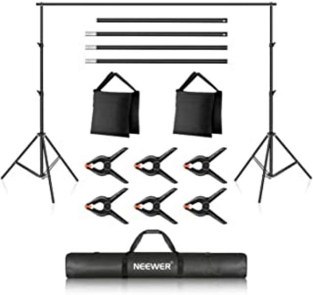 Oferta de Neewer Foto Estudio Sistema de Soporte de Fondo, Soporte de Fondo Ajustable de 10ft/3m, 7ft/2.1m de Ancho y Alto con 4 Bar... por 51,41€
