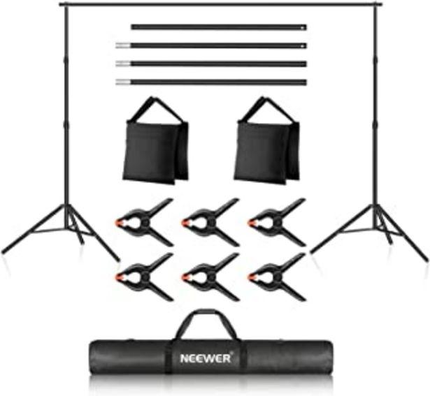 Oferta de Neewer Foto Estudio Sistema de Soporte de Fondo, Soporte de Fondo Ajustable de 10ft/3m, 7ft/2.1m de Ancho y Alto con 4 Bar... por 60,49€