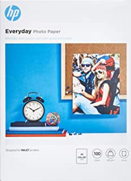 Oferta de Hp Everyday Photo Paper Q2510A - Papel de fotografía brillante, A4 (210 X 297 mm), 100 hojas por 18,76€