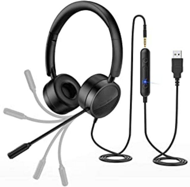 Oferta de New Bee Auriculares Micrófono PC Auriculares Telefono USB/3.5mm Cancelación de Ruido & Sonido estéreo Claro Cascos Busines... por 25,49€