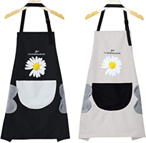 Oferta de Delantal Cocina Negro Gris, 2pcs Delantal Cocina Mujer Hombre Impermeable, Delantal de Chef Ajustable con Bolsillos Delant... por 13,99€