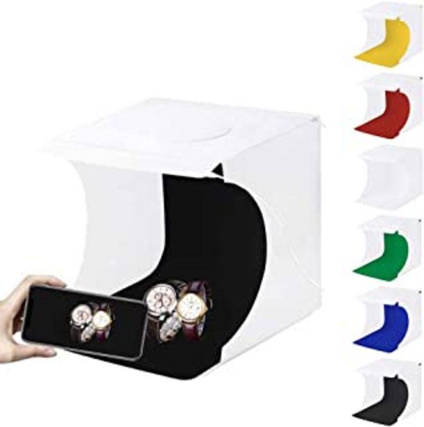 Oferta de PULUZ - Caja de luz para estudio fotográfico (2 luces LED, 1100lúmenes) con 6 fondos de color por 13,99€