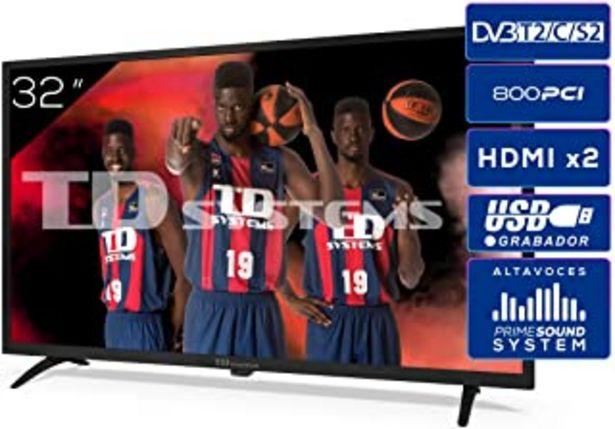 Oferta de TD Systems K32DLK12H - Televisores 32 Pulgadas HD 3X HDMI, USB, 800 PCI Hz, Grabador Reproductor, DVB-T2/C/S2 Modo Hotel -... por 149€