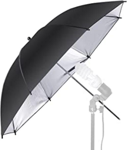 Oferta de Neewer - Paraguas reflector profesional para flash y estudios fotográficos, color negro y plata, 84 cm por 13,99€