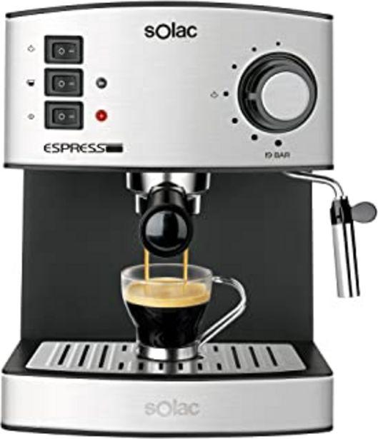 Oferta de Solac CE4480 Espresso-Cafetera de 19 Bares con vaporizador, 850 W, 1.25 litros, 0 Decibeles, Acero Inoxidable por 59,99€