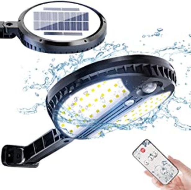 Oferta de Luz Solar Exterior, Foco Led Solar Exterior con Sensor de Movimiento, 3 Modos de Iluminación, con Mando a Distancia, IP65 ... por 24,88€