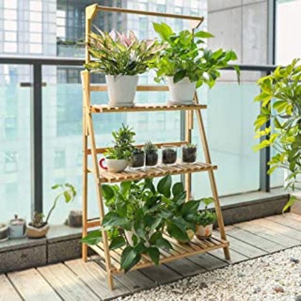 Oferta de TOLEAD Soporte De Escalera De Plantas De Bambú Sólida Y Duradera, 3 Niveles con Varilla para Colgar, Ideal para Interior, ... por 45,99€