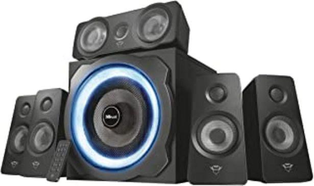 Oferta de Trust Gaming GXT 658 Tytan 5.1, Sistema de Altavoces 5.1 con Iluminación LED y Sonido Envolvente, Alámbrico, Negro por 99,99€