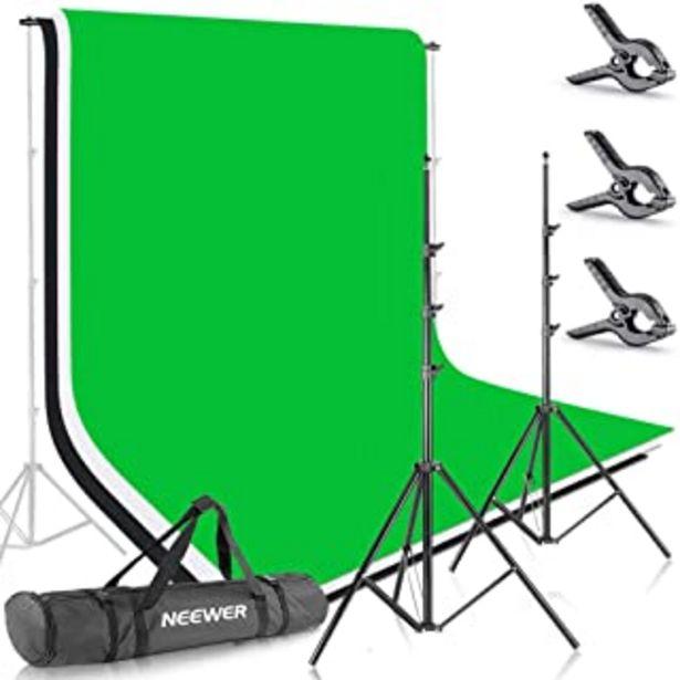Oferta de Neewer 10086005, 2.6M X 3M Soportes de Fondo con 1.8M X 2.8M Fondo(Blanco,Negro,Verde) para Fotografía y Vídeo por 70,54€
