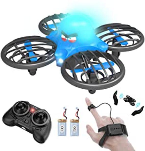 Oferta de FLYHAL F111, Infrarrojo Sensor RC Drone para Niños y Principiantes, Control Remoto por Reloj Inteligente y la Mano Sensor ... por 39,99€