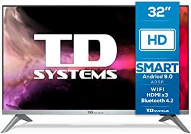 Oferta de TD Systems K32DLJ12HS - Televisores Smart TV 32 Pulgadas HD Android 9.0 y HBBTV, 800 PCI Hz, 3X HDMI, 2X USB. DVB-T2/C/S2,... por 199,9€