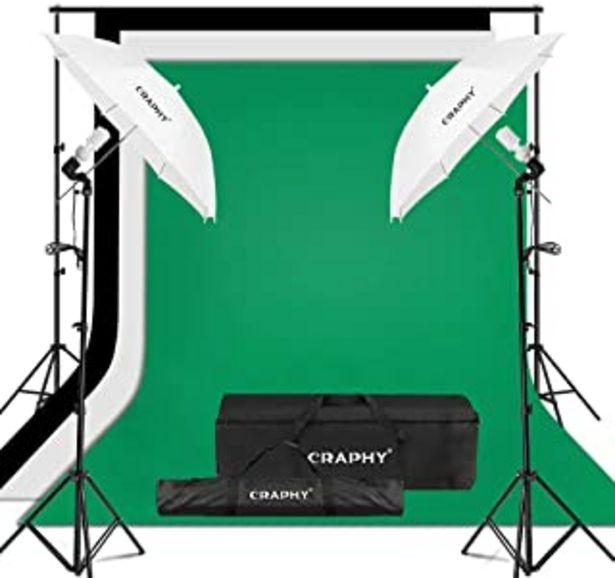 Oferta de CRAPHY Kit de Iluminación para Fotografía, 2X Paraguas Blanco Traslúcido, 3X Fondos Croma Verde, Negro y Blanco por 65,99€