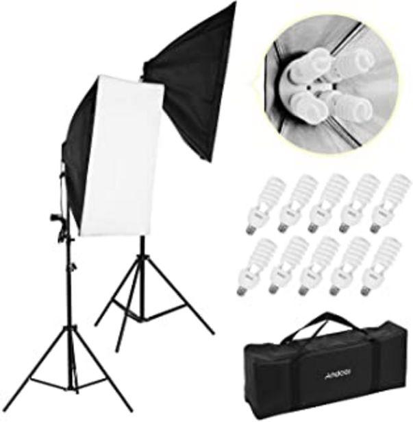Oferta de Andoer Kit de Luz Profesional para Fotografía de Estudio Que Incluye Cajas de Luz de 50 * 70 cm * Toma de luz 2/4-en-1 * 2... por 71,99€