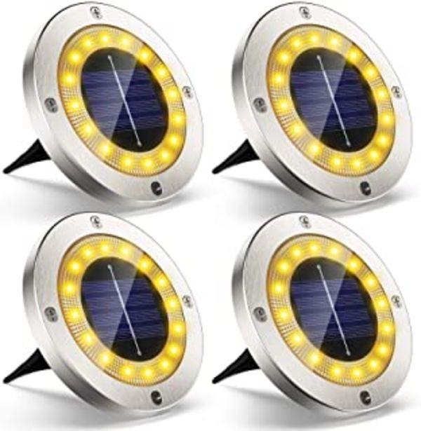 Oferta de Luz Solar Jardin Decoracion Exterior 16 LEDs, 4Pcs VIRIDI 120LM Foco LED Exterior Solares Luces IP65 Acero Inoxidable Lawn... por 19,54€