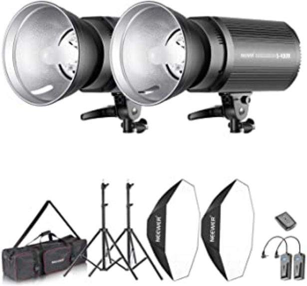 Oferta de Neewer Flash Estereoscópico Softbox 800W Kit:(2)400W Monoluz (2)Reflector (2)Soporte de Luz (2)Softbox (2)Lámpara de Model... por 190,39€