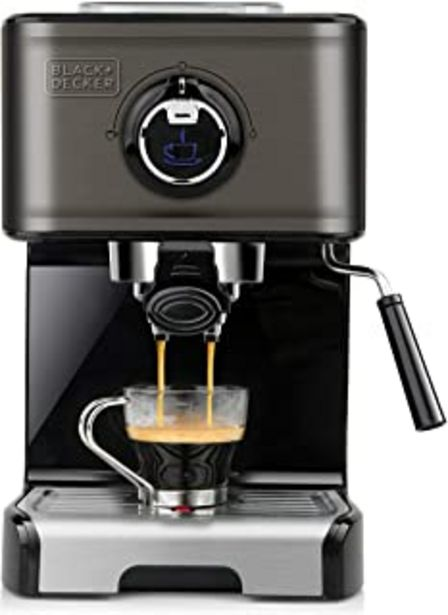 Oferta de Black+Decker BXCO1200E Cafetera espresso, Acero Inoxidable, Negro por 111€