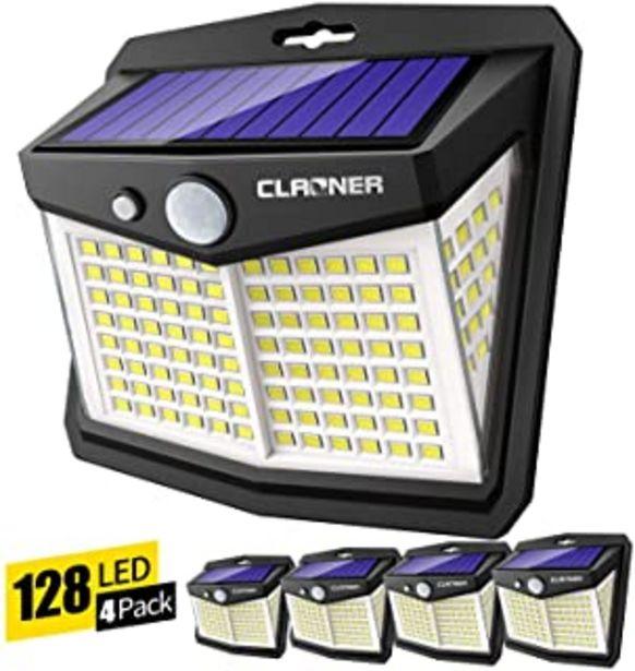 Oferta de Claoner Luz Solar Exterior, 128 LED/ 3 Modos Foco Solar con Sensor de Movimiento 270º lluminación Lámpara Solar de Segurid... por 25,99€