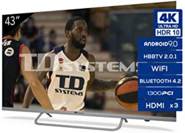 Oferta de TD Systems - Televisor K43DLX11US, Smart TV 43 Pulgadas, Android 9.0 y HBBTV, 1300 PCI Hz UHD HDR, 3X HDMI, 2X USB. DVB-T2... por 279€