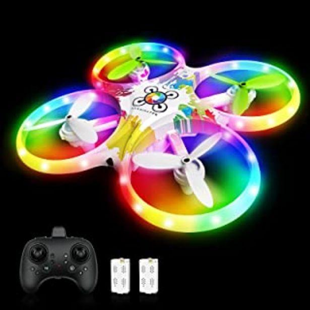 Oferta de Tech rc Drone para Niños, Sensor de Gravedad, Drone con Luces de Colores,Función de Despegue / Aterrizaje con Un Botón, Mo... por 49,99€