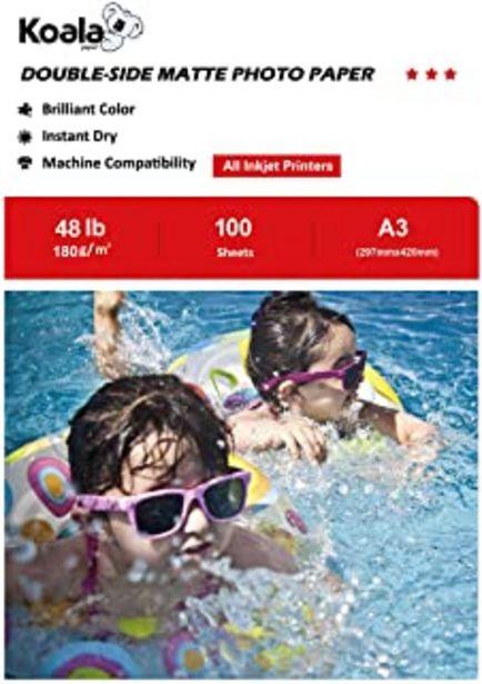 Oferta de KOALA Papel Fotográfico de Doble cara Mate para Inyección de Tinta A3, 180 g/m², 100 hojas. Adecuado para imprimir Fotos, ... por 21,99€