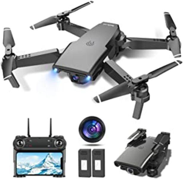 Oferta de Tech rc Drone con Cámara HD 1080P, Drone FPV Plegable Drone Profesional Posicionamiento de Flujo Óptico, 2 baterías, Contr... por 79,99€