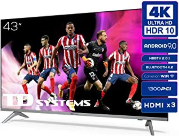 Oferta de TD Systems K43DLJ12US - Televisores Smart TV 43 Pulgadas 4k UHD Android 9.0 y HBBTV, 1300 PCI Hz, 3X HDMI, 2X USB. DVB-T2/... por 299€