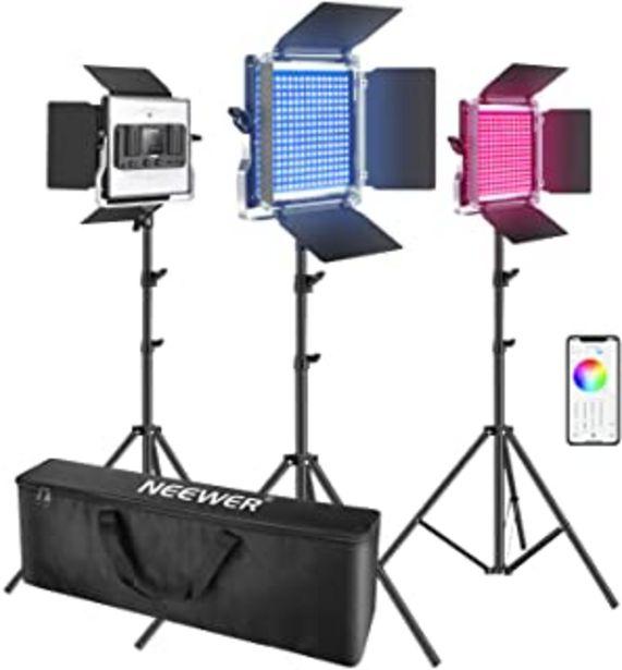 Oferta de Neewer 3 Packs luz LED RGB 660 con Control App Kit Iluminación Video y Fotografía con Soportes y Bolsa 660 SMD LED CRI95 /... por 308,99€