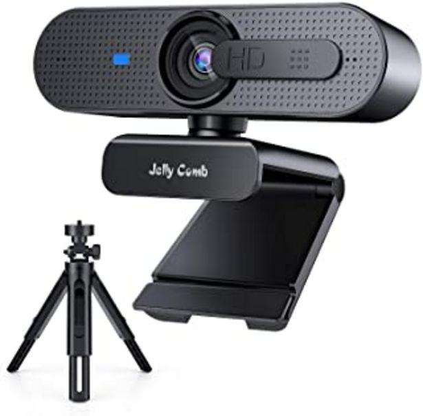 Oferta de Webcam 1080P Full HD Enfoque automático con Micrófono Estéreo, Jelly Comb Cámara Web USB con trípode y Cubierta de privaci... por 36,99€