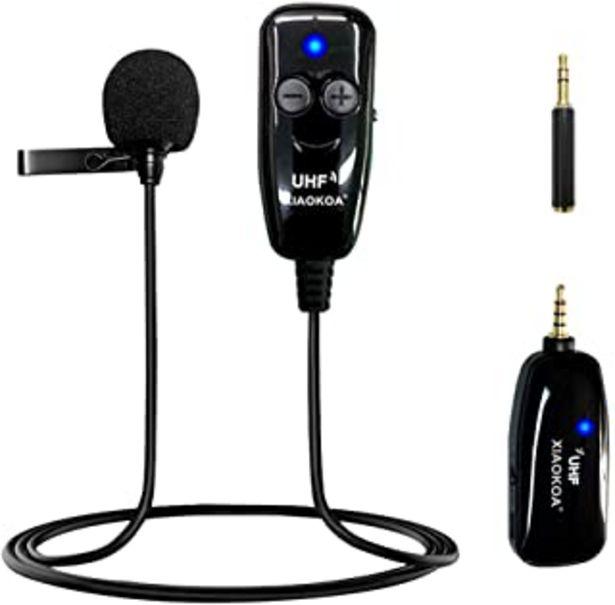 Oferta de XIAOKOA Micrófono Inalámbrico de Solapa,UHF Micrófono Inalámbrico de Solapa,50 m de Transmisión Inalámbrica,Grabación de S... por 23,55€