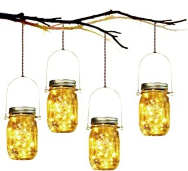 Oferta de Lámpara de Decoración Solar - 4 Piezes Lámpara Solar Mason Jar Set Lámpara Ahorro de Energía e Impermeable para Jardín Int... por 39,98€