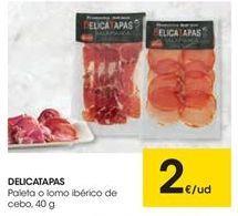Oferta de Paleta o lomo ibérico de cebo DELICATAPAS por 2€