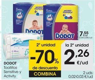Oferta de Toallitas Sensitive y Activity DODOT por 7,55€