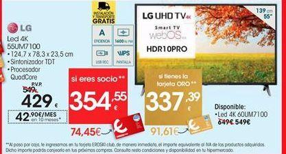 Oferta de TV Led 4K 55UM7100 LG por 429€
