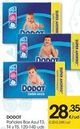 Oferta de Pañales Box Azul T3. T4 y T5 DODOT  por 28,35€