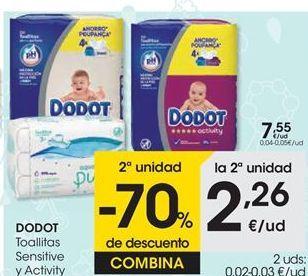 Oferta de DODOT Toallitas Sensitive y Activity  por 7,55€