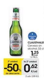 Oferta de Cerveza sin alcohol Clausthaler por 1,25€