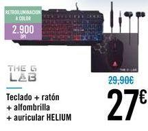 Oferta de Teclado + ratón + alfombrilla + auricular HELIUM por 27€