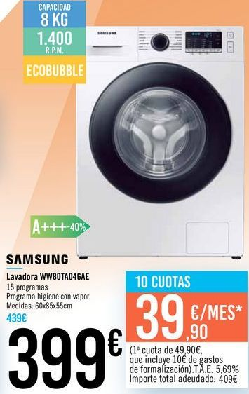 Oferta de Lavadora WW80TA046AE SAMSUNG por 399€