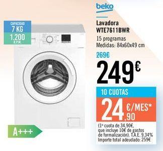 Oferta de Lavadora WTE7611BWR Beko por 249€