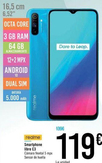 Oferta de Smartphone libre C3 realme por 119€