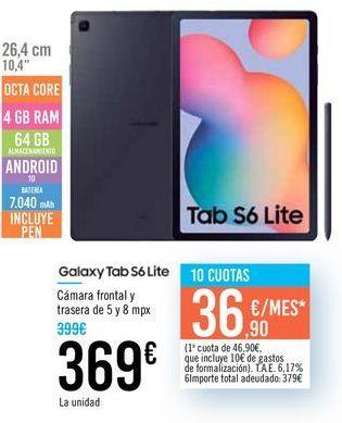 Oferta de Galaxy Tab S6 Lite por 369€