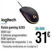 Oferta de Ratón gaming G203 Logitech por 31€